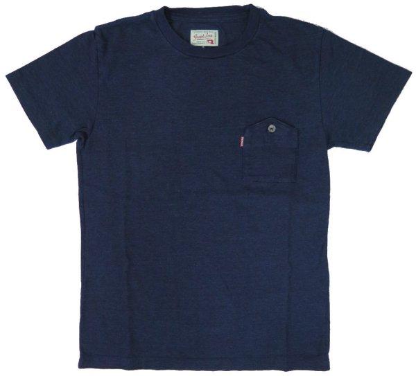 画像1: 5サイズ展開!【グラフゼロ】 インディゴ ポケット付き クルーネックTシャツ GRAPHZERO GZ-IDTC 日本製 (1)
